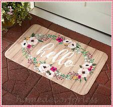 HELLO Spring Floral Flowers Door Mat Rug Indoor Outdoor Seasonal Home Decor