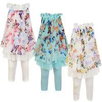 Girls Butterfly Print Top & Leggings 2-Piece Set Kids Chiffon Silk Dress 3-12 Y