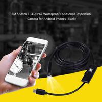 5M 5.5mm 6-LED Handy Endoskop IP67 wasserdichte Inspektionskamera für Android