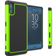 For Sony Xperia XZ Case - Neon Green / Black Rugged Skin Phone Cover