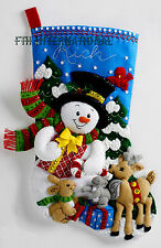 "Bucilla Forest Friends ~ 18"" Felt Christmas Stocking Kit #86657, Frosty, Animals"