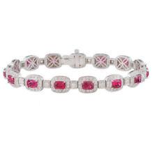 925 Sterling Silver Marilyn Monroe Inspired Red Cushion Tennis Bracelet White