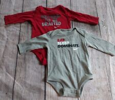 TWO 2 Baby Boy Nike Bodysuit Size 3-6  6-9 Months RED GRAY