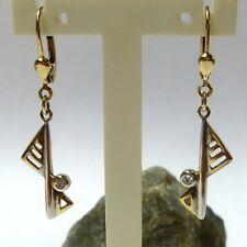 333/8K Orecchini dorati pendenti gioielli con zirconia donna weiss-gelbgold