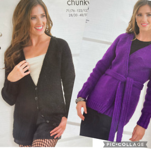 Two Ladies Long Chunky Cardigans Coats Knitting Pattern Size 71-127cm - L170