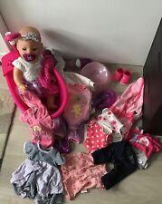 Baby Born Princess doll, accessories, bath, oufits, potty.