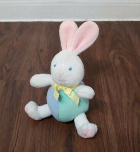 "Eden Baby Bunny Rabbit Rattle Pastel Pink Green Blue White 7"" Stuffed Plush"