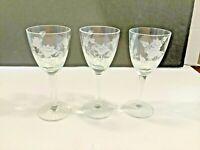 """Set of 3 Etched Floral Stemmed Cordial Liqueur Glasses 5 1/2"""""""