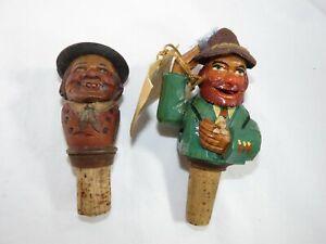 2 Vintage Hand Carved Wooden Figure Wine/ Liquor Bottle Cork Stoppers