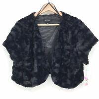 Size 2X NWT BCX Women's Faux Fur Open Front Short Sleeve Bolero Shrug Black C059