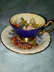 --SPECTACULAR and RARE Aynsley Cabbage Rose Teacup and Saucer Signed J A Bailey-