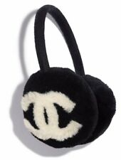 Chanel 19K Black Ivory White CC Logo Shearling Fur Cashmere Head Ear Earmuffs