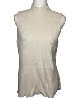 ELLE Women's Cable Knit Sleeveless Sweater Cream Size XL Soft Ribbed Ivory
