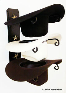 American Made Cowboy Hat Rack with Stars Powder Coated Black with Gold Stars