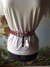 Limited Too Pink Sequin Belt Elastic Stretch Silver Rhinestone Buckle Size S/M