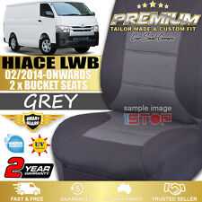 2 x GREY FRONT BUCKET SEAT COVERS for TOYOTA HIACE LWB 2014-2018 KDH201R/TRH201R