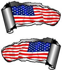 Small Pair Ripped Open Metal Rip GASH American Stars & Stripes Flag Car Sticker