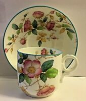 ANTIQUE 19TH CENTURY ENGLISH POTTERY PEARLWARE * PINK FLOWERS & BLUE RIM TEA CUP
