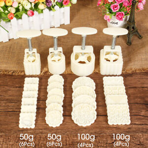 24 Stamps Moon Cake Pastry Mold Press Mould Mooncake Cookies Decoration Plastic