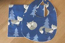 Bib and burp cloth- Fox on royal blue