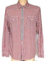 "Mens GUESS Shirt Western Cowboy Style Popper Fasten Check XL Pit - Pit 23"""
