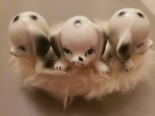 Vintage Ceramic 3 dogs puppies dalmations (Brinn's?) In Basket With Fur Lining