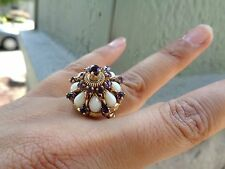 Vintage 18k gold Amethyst & natural Opal Harem domed ring STUNNING 7.3 g Size 7