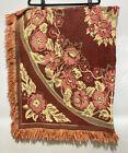 VTG Woven Wall Hanging Tapestry Blanket Floral Orange Autumn Colors Fringe