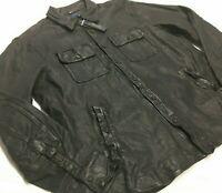 Polo Ralph Lauren 100% Lambskin Leather Navy CPO Shirt Jacket Moto Biker Rider