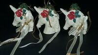 VINTAGE SET OF 3 MIDWEST OF CANNON FALLS CHRISTMAS UNICORNS CHRISTMAS ORNAMENTS
