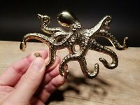 Antique Vintage Style Brass Octopus Wall Key Hook Paperweight