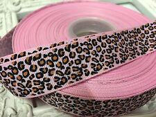 1 Metre Pink Leopard Print Grosgrain Ribbon Designer 22mm Cakes Bow Dummy