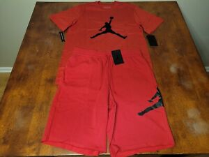 $75 Nike Air Jordan Jumpman Fleece Shorts & T-shirt Set Red sz S/M