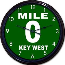 Key West Florida Conch Republic Nation 0 Mile Highway Marker Wall Clock New 10""