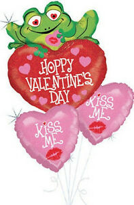 VALENTINE'S DAY BALLOONS 3 x HOLOGRAPHIC BALLOON BOUQUET KISS ME HELIUM BALLOONS
