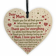 Mum Mummy Gift From Son Daughter Wooden Heart Sign Gift For Birthday Mothers Day