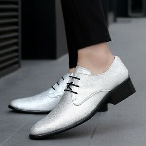 Mens Chic Glitter Pointed Toe Lace Up Shoes Fashion Faux Leather Business Oxford