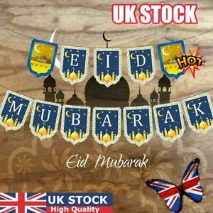 Eid Mubarak Banner Ramadan Hanging Bunting New Year Islamic Party Decor Supplies