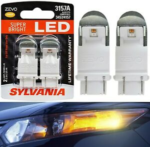 Sylvania ZEVO LED Light 3157 Amber Orange Two Bulbs Front Turn Signal Replace OE