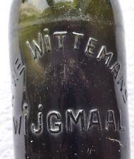 1930s Belgium WITTEMANS WIJGMAAL Embossed Beautiful Green Glass Beer Bottle