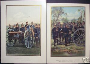 Arnould: Pair Prussian Military Lithographs Werner 1899