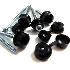 "100, 3"" (75mm) CORRUGATED ROOFING SCREWS & BLACK STRAP CAPS FOR CLEAR SHEETS"