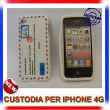 Custodia + Pellicola silicone AIRMAIL BIANCA per IPHONE 4G