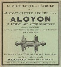 Y7614 La bicyclette a Pétrole ALCYON - Pubblicità d'epoca - 1908 Old advertising