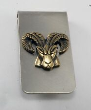 Vintage Collectible Ram Head Silver Tone Metal w Gold Ram Head Money Clip NOS