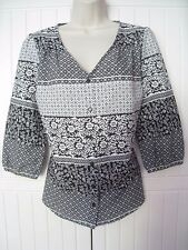 The Collection Debenhams Size 12 Black White Blouse Floral 3/4 Sleeve Top BNWOT