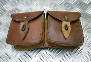 Genuine Vintage Military Issue Tan Double Leather Ammo / Utility Pouch Faulty