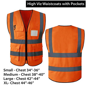 Hi Viz Safety Vest Waistcoat High Visibility Orange Viz Jacket with ID Pockets