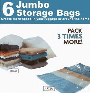 6 Best Quality VACUUM STORAGE SPACE SAVING BAGS,5 XLARGE(100x70) 1 MEDIUM(50x70)