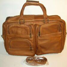 Columbian Brown Leather Business/Weekender Shoulder Bag Detachable Strap NICE!